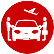 Professionals entering a car icon
